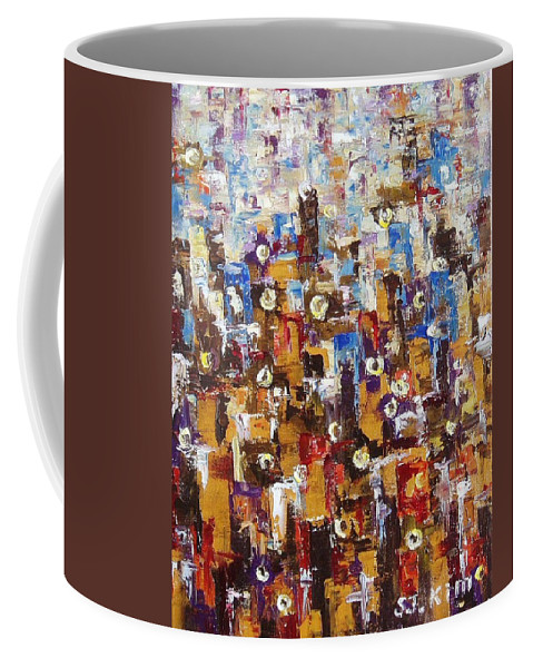 Abstract Paintings Coffee Mug featuring the painting People In People by Seon-Jeong Kim