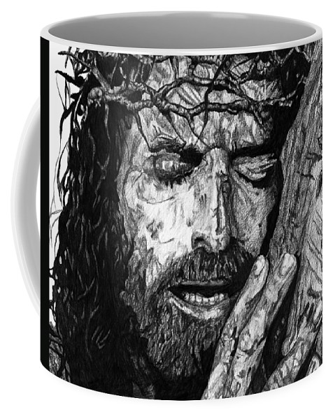 Portrait Coffee Mug featuring the drawing The Lion by Bobby Shaw