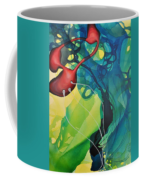Abstract Coffee Mug featuring the painting Their Continual Course by Darcy Lee Saxton