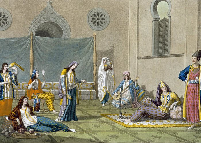 Giulio Greeting Card featuring the drawing A Persian Harem, From Le Costume Ancien by G. Bramati