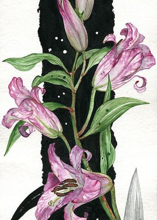 Flower Greeting Card featuring the painting Flower Lily 01 Elena Yakubovich by Elena Yakubovich