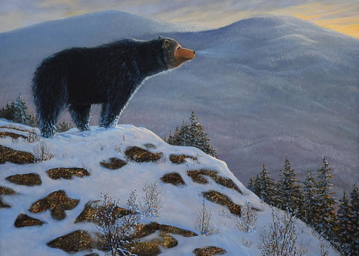 Wildlife Greeting Card featuring the painting Last Look Black Bear by Frank Wilson