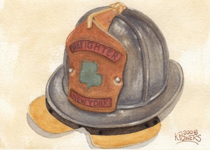 Fire Greeting Card featuring the painting Proud To Be Irish Fire Helmet by Ken Powers