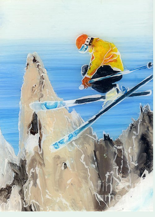 Ski Paintings Greeting Card featuring the painting Skiing At Flegere by Sara Pendlebury