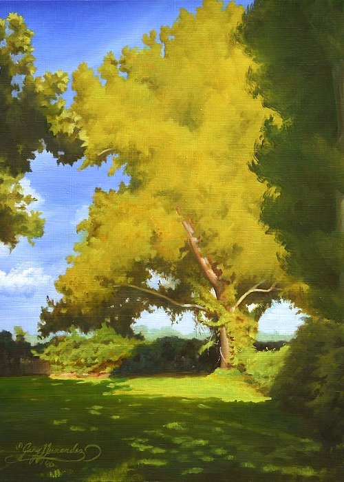 Sycamore Tree Greeting Card featuring the painting Sycamore by Gary Hernandez