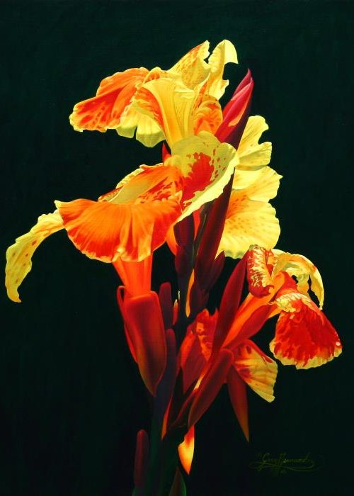 Flowers Greeting Card featuring the painting Yellow Cannas by Gary Hernandez