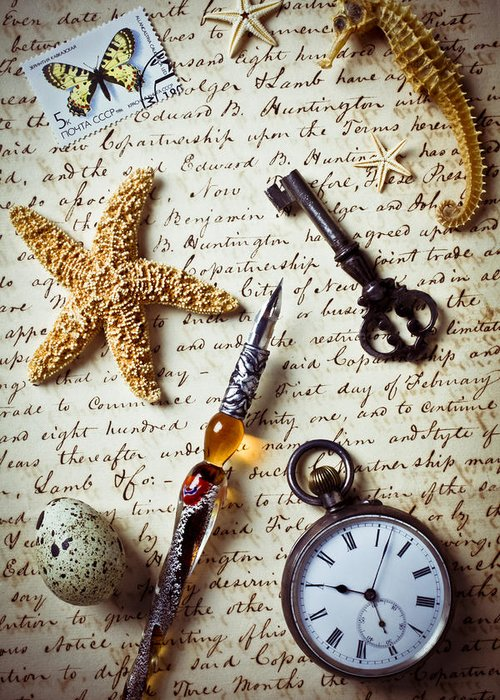 Letter Greeting Card featuring the photograph Old Letter With Pen And Starfish by Garry Gay