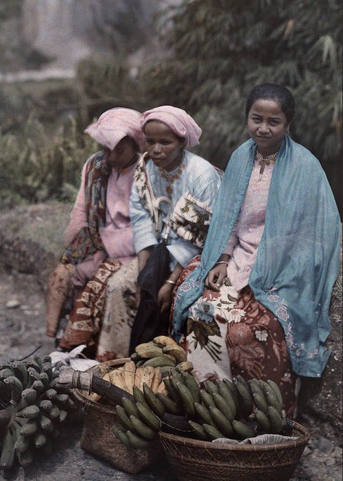Day Greeting Card featuring the photograph Three Women Traders Sit by W. Robert Moore