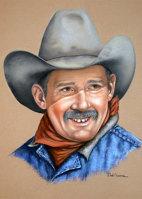 People Greeting Card featuring the painting Happy Cowboy by Deb Owens-Lowe