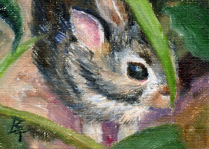 Bunny Greeting Card featuring the painting Hiding Aceo by Brenda Thour
