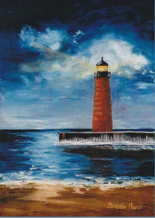 Lighthouse Greeting Card featuring the painting Lonely Beacon by Brenda Thour