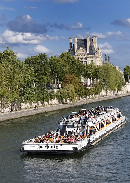 Paris Greeting Card featuring the photograph Sightseeing Boat On River Seine To Louvre Museum. Paris by Bernard Jaubert