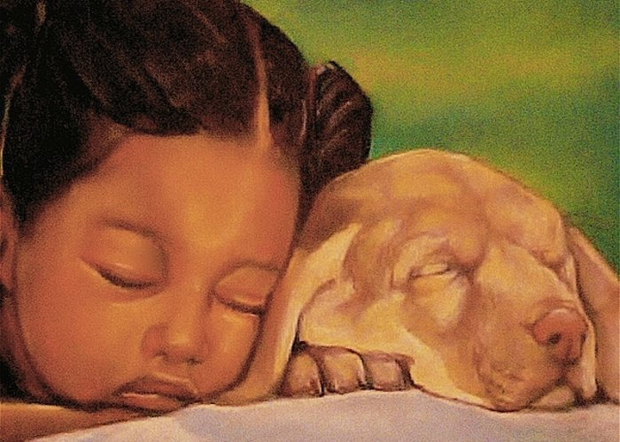 Girls Greeting Card featuring the pastel Sleeping Beauties by Curtis James