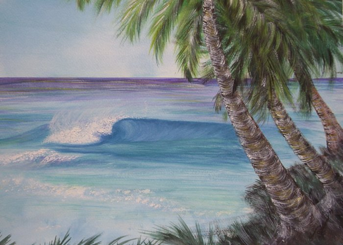 Winter Surf Greeting Card featuring the painting So Fine by Laura Johnson