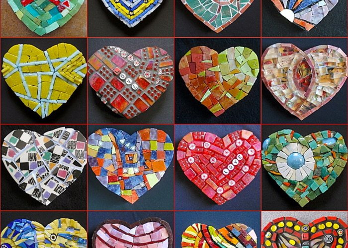 Heart Greeting Card featuring the painting 16 Hearts by Gila Rayberg
