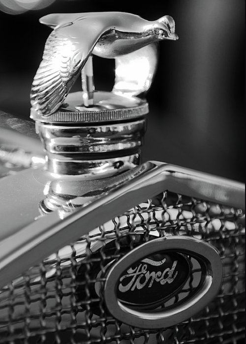 1930 Ford Quail Greeting Card featuring the photograph 1930 Ford Quail Hood Ornament 3 by Jill Reger