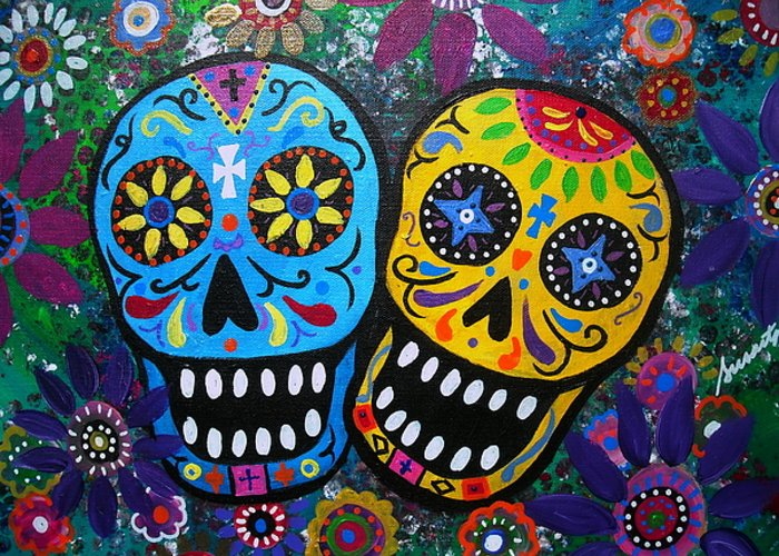 couple day of the dead greeting card for sale by pristine cartera, Greeting card
