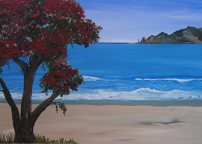 Landscape Seascape Pohutukawa Tree Greeting Card featuring the painting A Peaceful Place Revisited by Sher Green