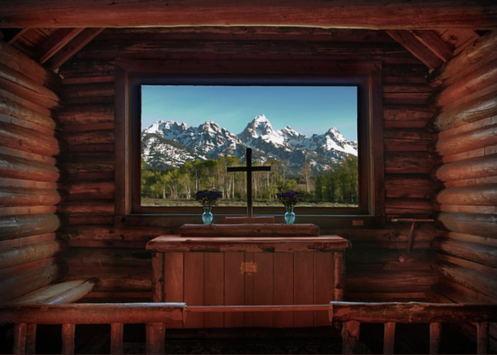 Hdr Greeting Card featuring the photograph A Pew With A View by Sandra Bronstein