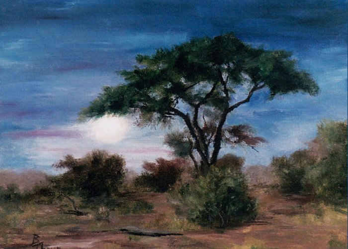 Moon Greeting Card featuring the painting African Moon by Brenda Thour