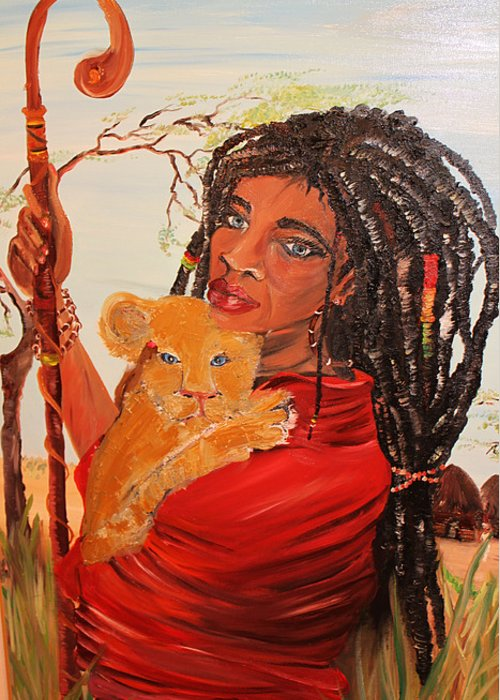 African woman greeting card for sale by moreli rasta woman africa greeting card featuring the painting african woman by moreli rasta woman m4hsunfo