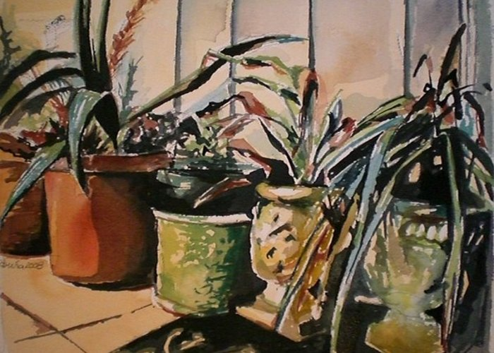 Potted Plants Greeting Card featuring the painting At The Doorstep by Aleksandra Buha