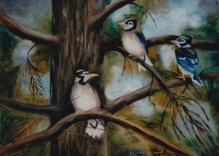Blue Jay Greeting Card featuring the painting Baby Jays by Brenda Thour