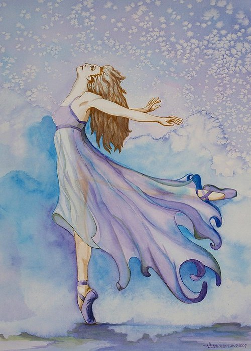 Ballet Dancer Greeting Card featuring the painting Ballerina Performs by Joyce Hutchinson