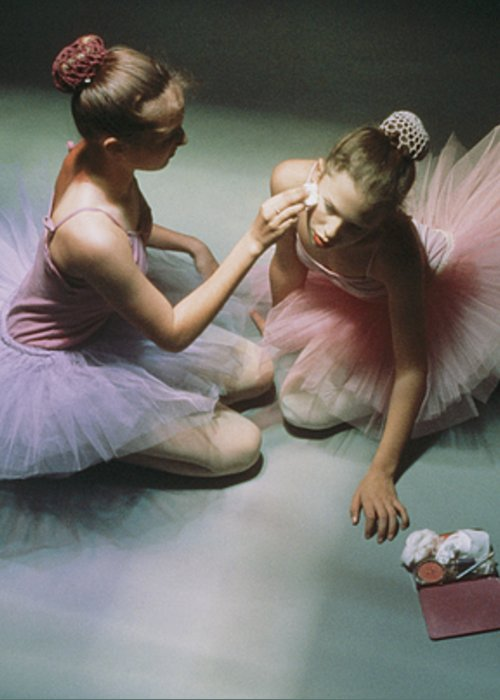 Color Image Greeting Card featuring the photograph Ballerinas Get Ready For A Performance by Richard Nowitz