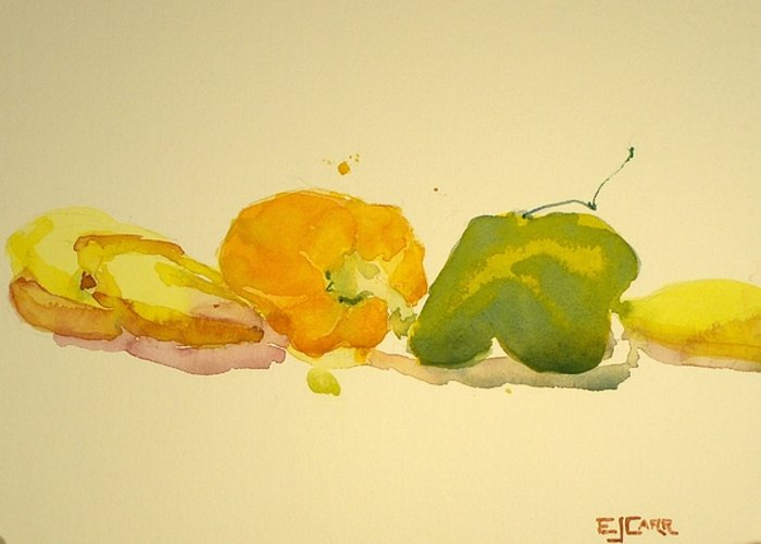 Still Life Greeting Card featuring the painting Bananas And Peppers Line Up by Elizabeth Carr