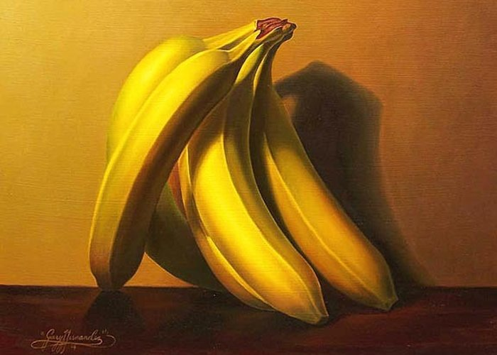 Fruit Greeting Card featuring the painting Bananas by Gary Hernandez