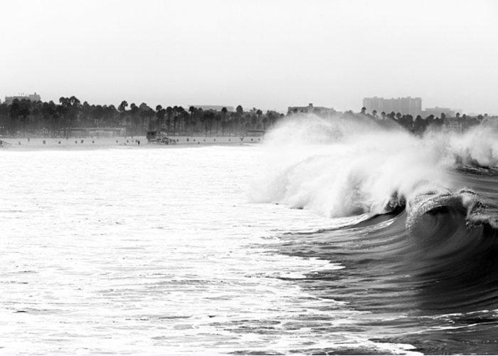 Big Surf At Santa Monica Greeting Card featuring the photograph Big Surf At Santa Monica by John Rizzuto