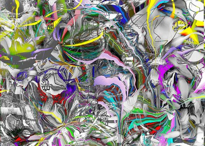 Abstract Greeting Card featuring the digital art Big Wire by Dave Kwinter