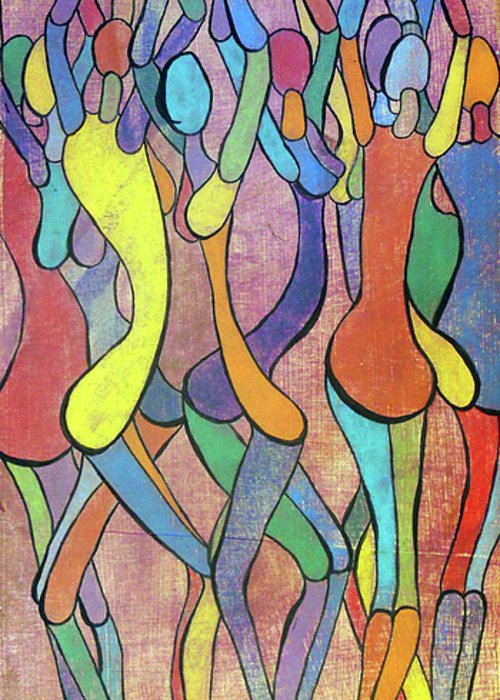 Abstract Greeting Card featuring the painting Boogie by Bobby Jones
