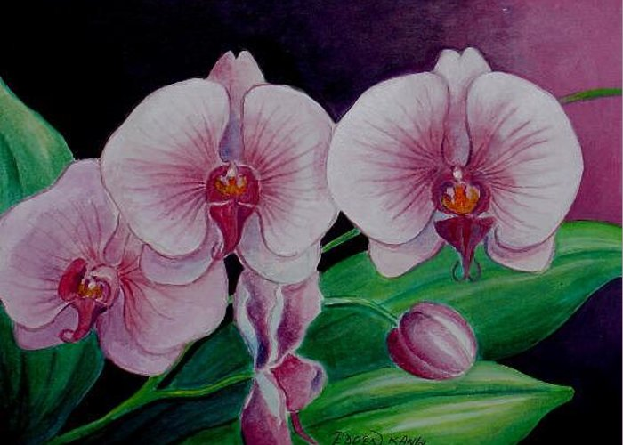 Orchid Greeting Card featuring the painting Borneo Orchid by Edoen Kang