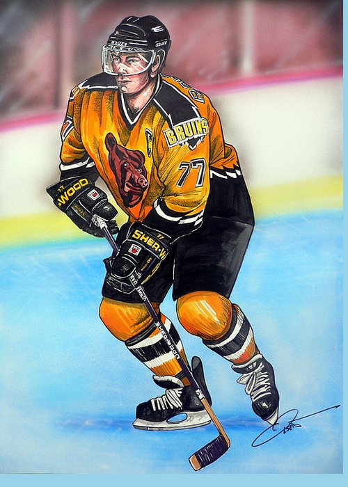 Hockey Greeting Card featuring the painting Boston Bruins Ray Bourque by Dave Olsen