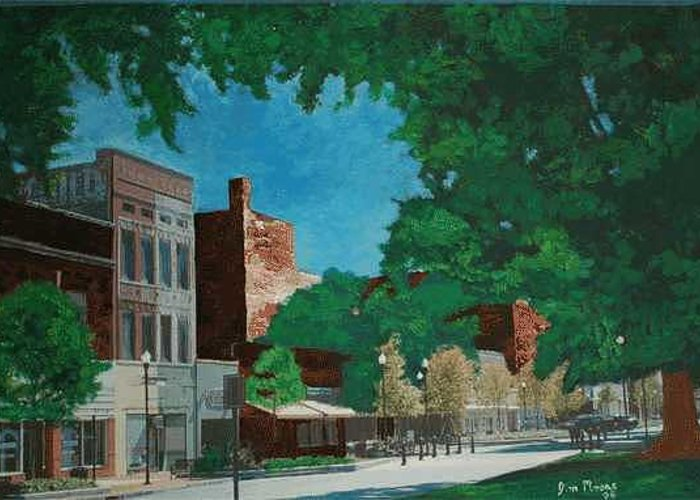 Downtown Greeting Card featuring the painting Broadway Columbus by James Eugene Moore