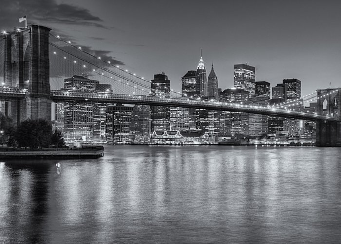 Clarence Holmes Greeting Card featuring the photograph Brooklyn Bridge Twilight II by Clarence Holmes