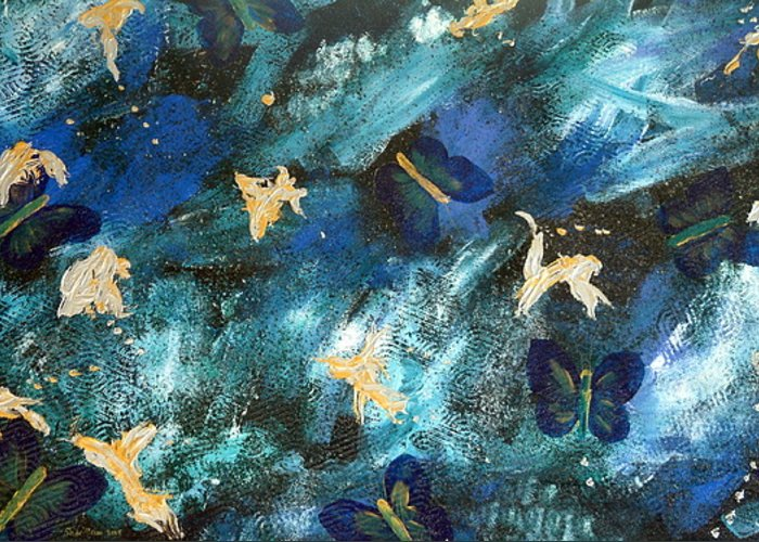 Heavily Textured Greeting Card featuring the painting Butterfly Blue by Sher Green