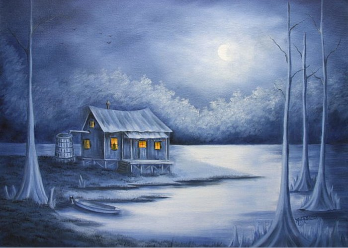 Seascape Greeting Card featuring the painting Cajun Christmas by Ruth Bares