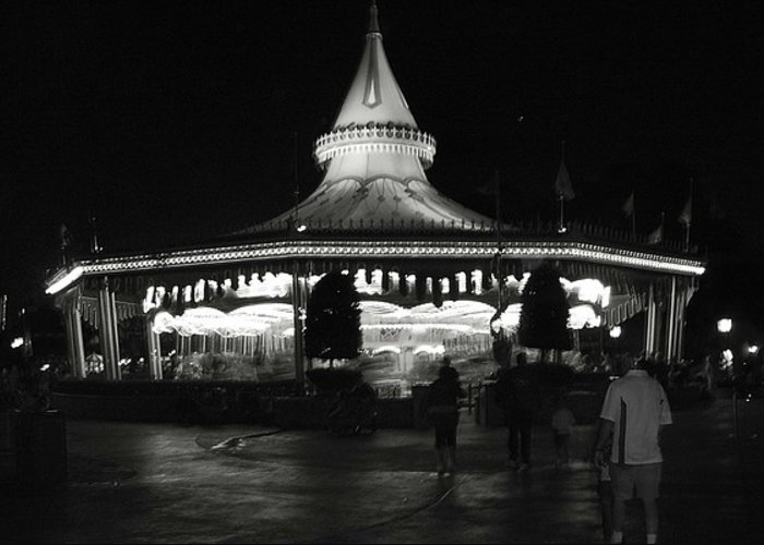 Black And White Greeting Card featuring the photograph Carousel by Lindsay Clark