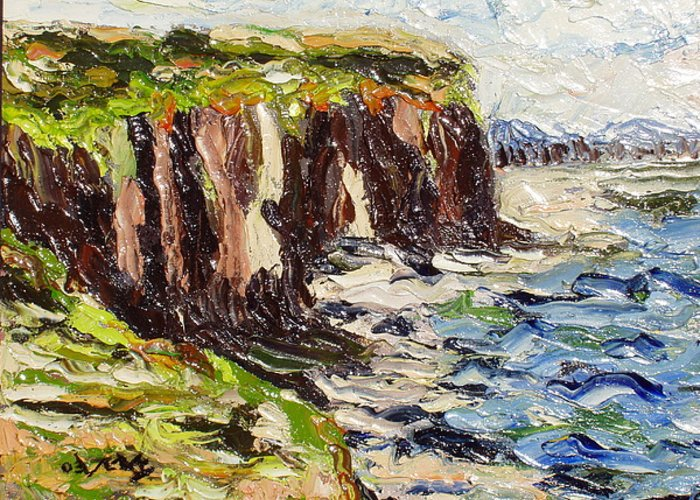 Abstract Paintings Greeting Card featuring the painting Cliff by Seon-Jeong Kim
