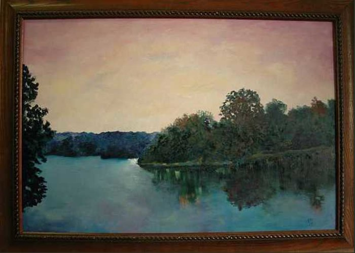 Water Greeting Card featuring the painting Copper Creek Afternoon by James Eugene Moore