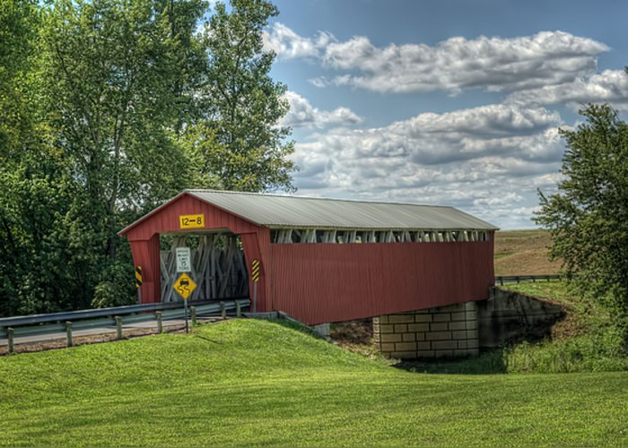 Covered Bridge Greeting Card featuring the photograph Covered Bridge In Ohio by Pamela Baker