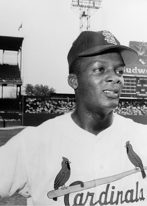 1959 Greeting Card featuring the photograph Curt Flood (1938- ) by Granger