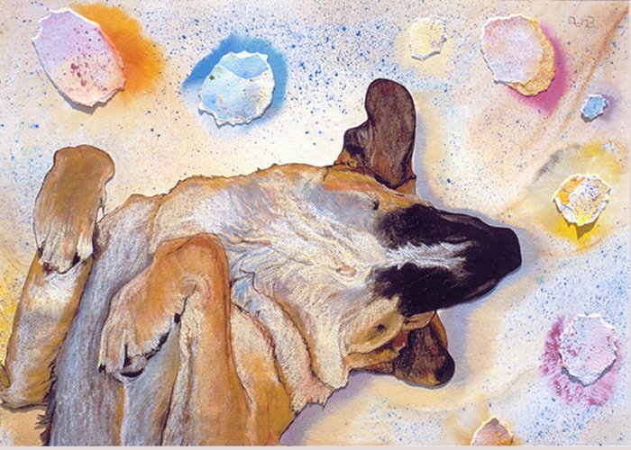 Sleeping Dog Greeting Card featuring the painting Dog Dreams by Pat Saunders-White
