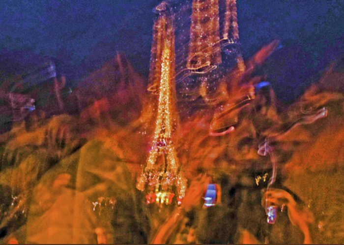 Paris Greeting Card featuring the photograph Eiffel On Bastille Day Abstract by Tony Grider