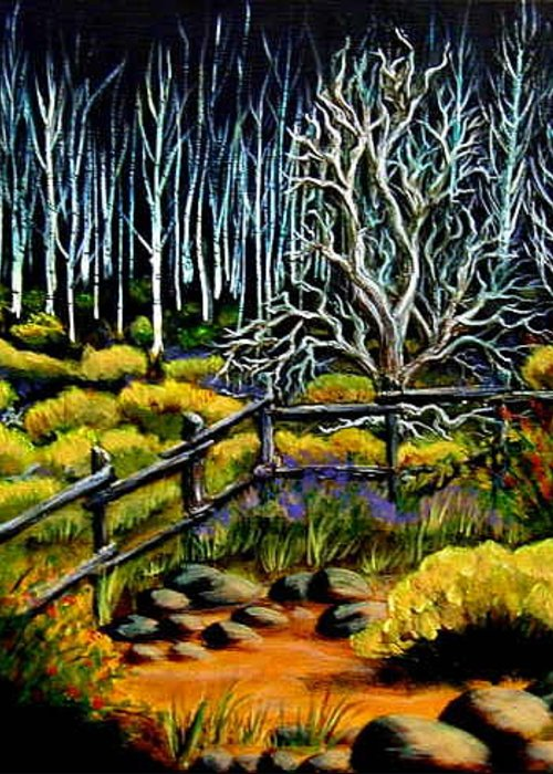 Evening Greeting Card featuring the painting End Of The Evening Trail by Diana Dearen