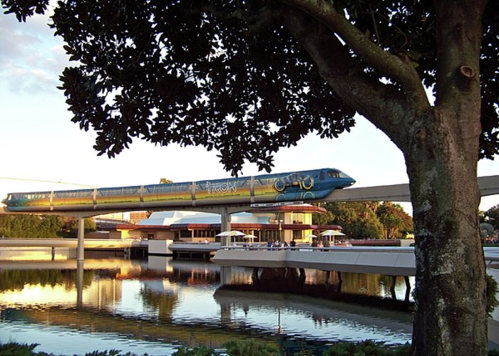 Tron Greeting Card featuring the photograph Epcot Tron Monorail by Carol Bradley
