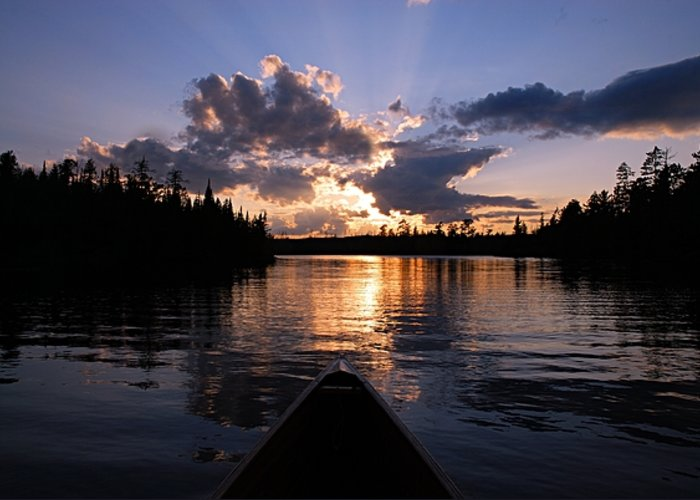 Spoon Lake Greeting Card featuring the photograph Evening Paddle On Spoon Lake by Larry Ricker